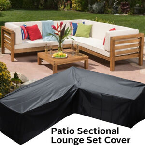 Details about Patio Sectional Sofa Cover V-Shap Furniture Protector Outdoor  Garden Couch Cover
