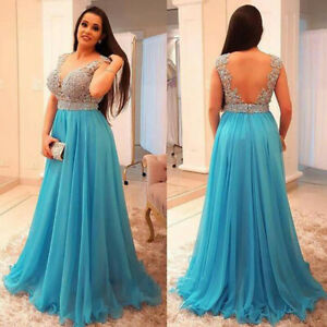 Details about Plus Size Prom Dresses Backless Beading Formal Evening Dress  Party Gown Custom