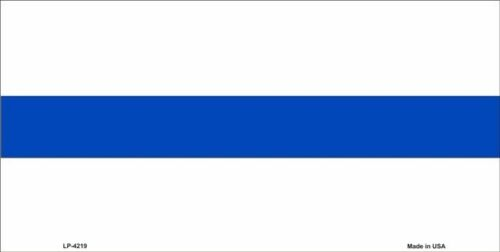Thin Blue Line Police White Background Vanity Metal Novelty License Plate