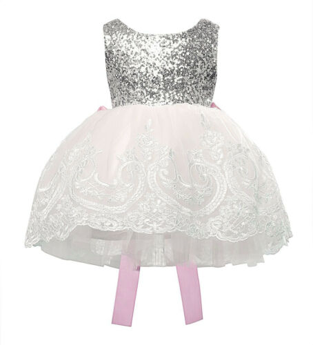 New Cute Sequin Puffy Princess Baby Girls Dress Flower Lace Party Kids Clothes