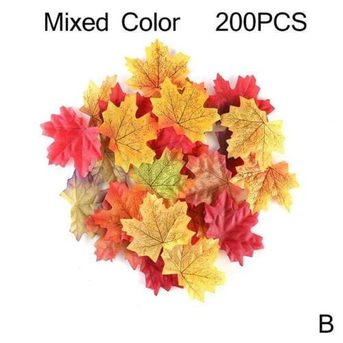 100-300Pcs//set Artificial Maple Leaves 6Colors Fake Fall Silk Autumn Party Decor