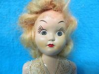 """VINTAGE JOINTED 7 1/2"""" HARD PLASTIC DOLL WITH SLEEP EYES LOOK AT HER EYELASHES !"""