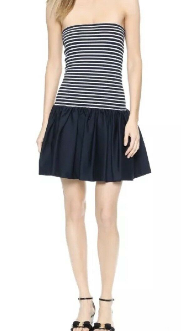 NWT RED VALENTINO bluee And White Stripe Strapless Dress Size S