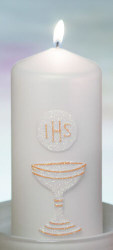 FIRST HOLY COMMUNION CONFIRMATION CANDLE TAPER//CONE or PILLAR WHITE BLUE PINK