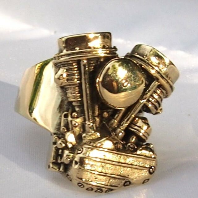 Men's Ring Harley Davidson Shovel Pan-head V-Twin Engine Motor Motorcycle Biker