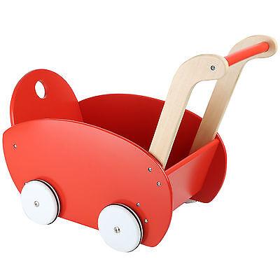Puppenwagen Hart Arbeitend Puppenwagen Rot 53x29x41cm Lauflernwagen Holz Wagen Puppenzubehör Schieben Spiel Sparen Sie 50-70%