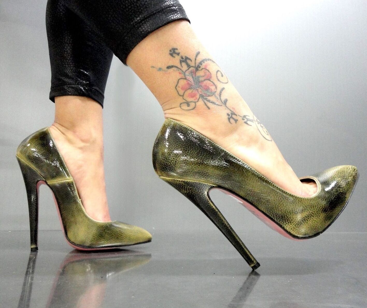Mori Made in  New High Sky Heels PUMPS SCHUHE shoes Leather Green Green 44