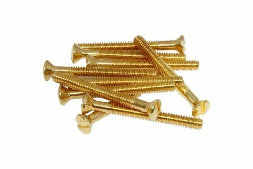 """3-48x1/"""" Filtertron Humbucker Adapter Plate Mounting Screw Set 2 Gold Made in USA"""