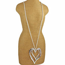 Silver double large heart abstract style pendant 96 cm long curb chain necklace