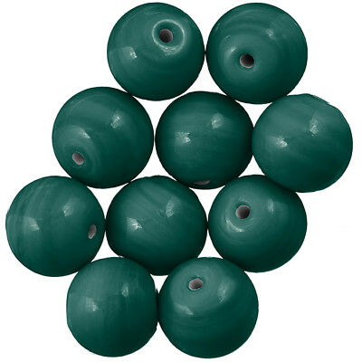 A41//6 Handmade Shiny Green Round Plain #Glass Beads 14mm Pack of 10
