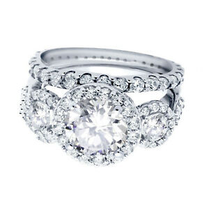 Large-Brilliant-Clear-CZ-Halo-Sterling-Silver-Wedding-Engagement-Ring-Set