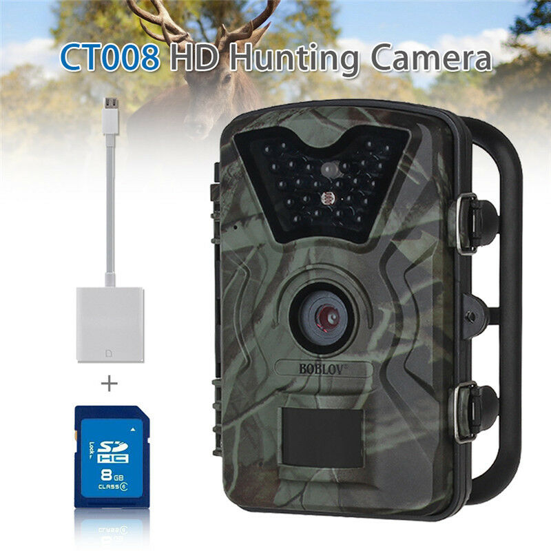 1080P Jagd Scouting Trail IR Kamera Wildlife + 8GB + Blitz Leser für Iphone iPad