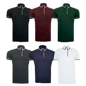 Hommes-T-Shirt-Brave-Soul-Virgil-Polo-a-manches-courtes-Piping