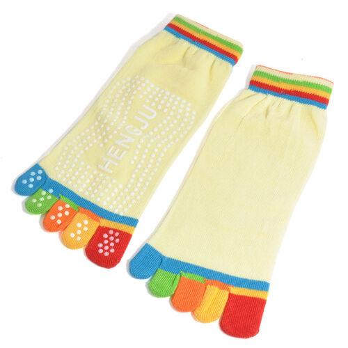 Women Cotton Yoga Gym Toe Colorful Non Slip Massage Full Grip Socks Heel 1Pair
