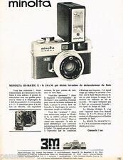 PUBLICITE ADVERTISING 085  1971  MINOLTA  appareil photo HI-MATIC E