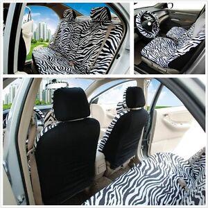 12Pcs//set Short Plush White Zebra Seats Covers Set Universal Fit Most Car Seats