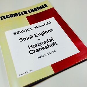 Tecumseh Small Engines Horizontal Crankshaft H25 H30 Engine Service Manual Book Ebay