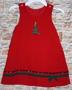 ebf00e3ef8e8 Christmas Tree GIRLS 4 Jumper Dress Holiday Red Corduroy Green ...