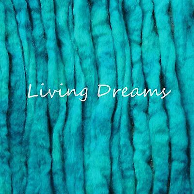 SPIN FELTING hand dyed TURQUOISE Top Wool Roving Craft Fiber NEEDLE SOAP WET