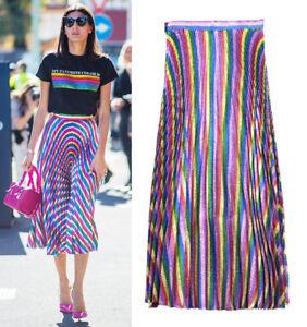 Metallic-Lurex-Rainbow-Stripe-Plisse-Pleated-Full-Midi-Skirt-Runway-Street-Celeb