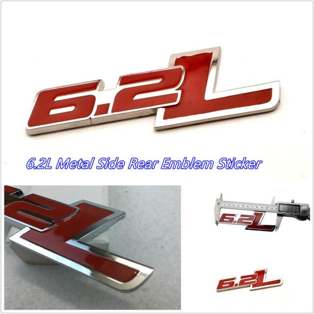 1x Metal Red 6.2L Emblem Rear Trunk Decal Fender Side Sticker For Chevrolet Ford