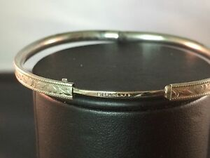 Image Is Loading H F B Sterling Bangle Bracelet Locking Clasp Child Size