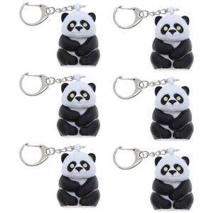 Six-Panda-Bear-w-Flashlight-amp-Growl-6-Metal-Keychains-Key-Ring
