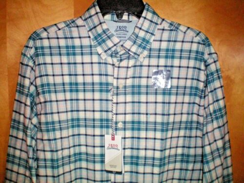 NWT NEW mens size M teal blue green IZOD Saltwater relaxed stretch casual shirt