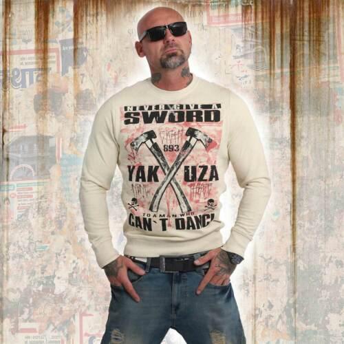 Neuer Yakuza Herren Sword Pullover Sweater Bone White