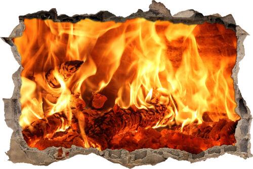 3D-Look Durchbruch Wandtattoo Aufkleber-Sticker brennendes Holz