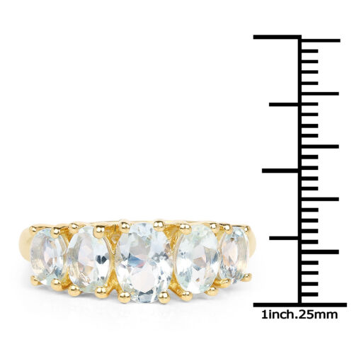 14K YellowGold Plated 2.13ct Genuine Aquamarine 925 Sterling Silver Wedding Ring