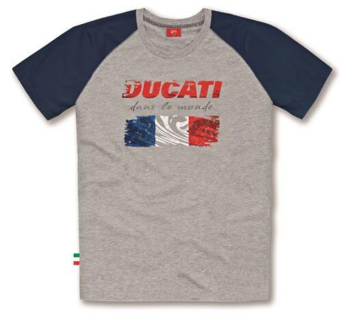 DUCATI FLAG FRANCIA FRANCE A Maniche Corte T-shirt Grigio Blu Nuovo!!!
