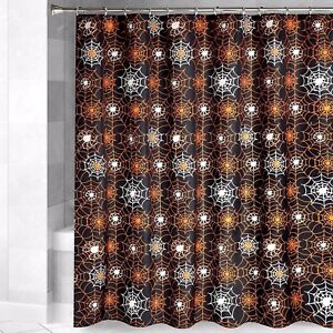 Image Is Loading Halloween Shower Curtain Glow In The Dark Spider
