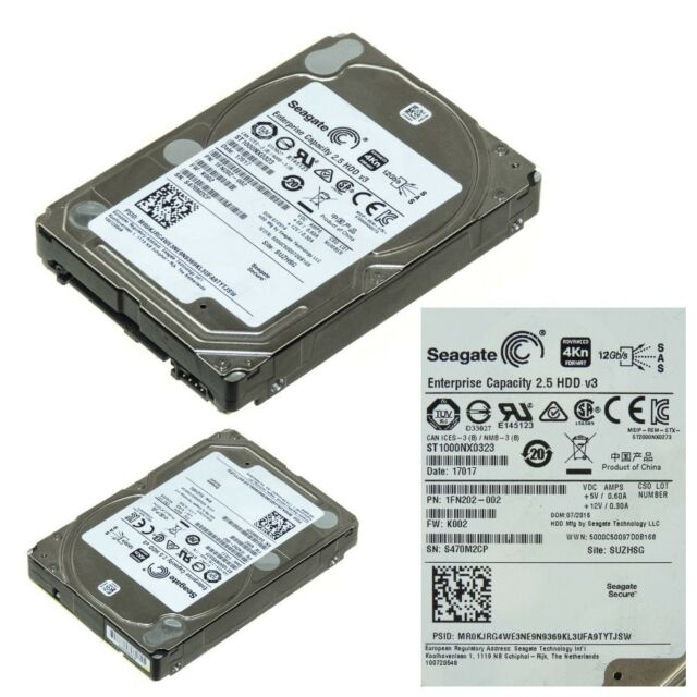 "SEAGATE ST1000NX0323 1TB 2.5"" 7200 RPM SAS 128MB"
