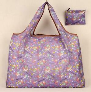 Lindo púrpura Little Twin Stars Plegable Compras Bolso Ecológico de gran capacidad