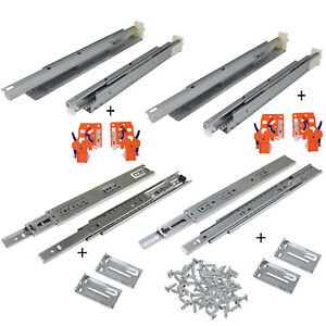 Details about Full Extension Drawer Slide Side/Rear Undermount Ball Bearing  Soft Close Slides