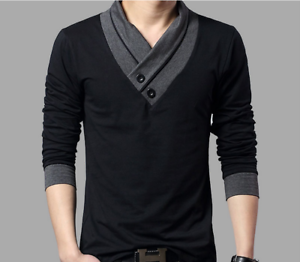 Fashion-Men-039-s-Casual-V-Neck-Cotton-Tops-Blouse-Slim-Short-Long-Sleeve-T-Shirt