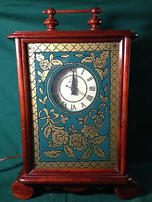 VTG Lanshire Mantle Clock Wood Case W/Green And Gold Glass Carl Forslund  WORKS
