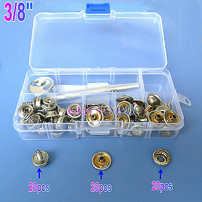 """3//8/""""Stainless Steel Canvas to Screw Press Stud Kit 20 Pk For Car//Boat Canopies ."""