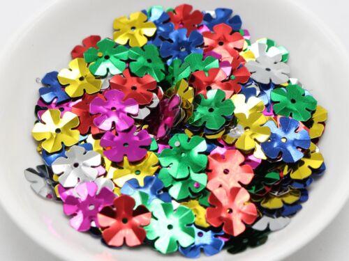 1100 Mixte color 14 mm Cup Flower Loose sequins paillettes Trou Couture Mariage
