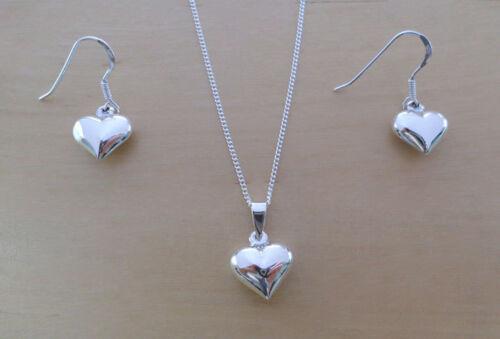 Sterling Silver Drop Dangle Love Heart Earrings /& Pendant Set /& Curb Chain