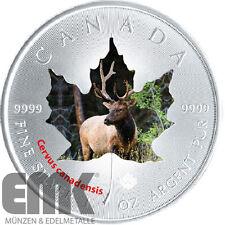 Kanada 5 Dollar 2015 Maple Leaf Wapiti Hirsch Canada Wildlife II. (9) 1Oz Silber