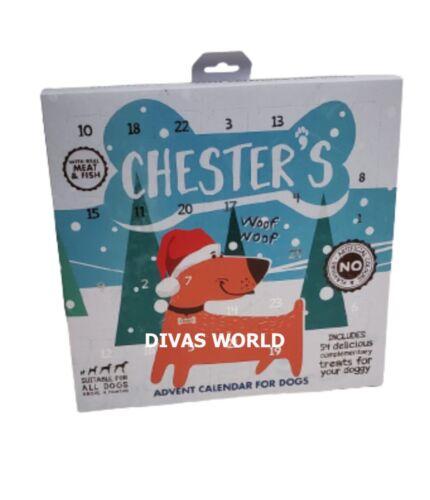 Chester/'s Christmas ADVENT CALENDAR 54 Délices pour les chiens Véritable Viande Poisson