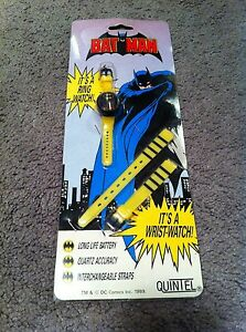 1989 Batman Ring Wrist-Watch DC Comics Made By Quintel (Sealed/Unopened)
