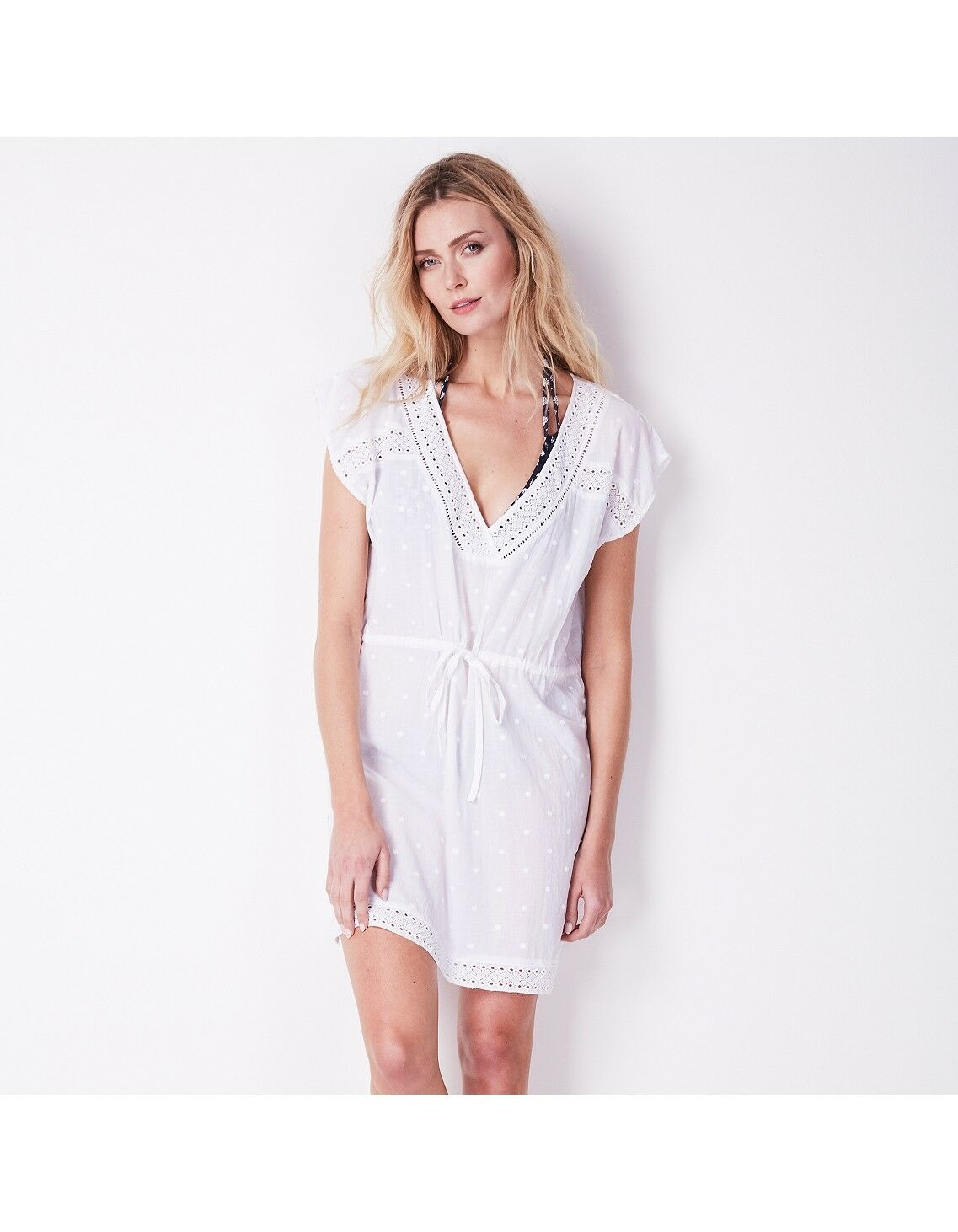 The White Company Lace Edge Beach Cover Up White Size L LF081 EE 06