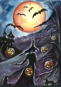 ACEO-Halloween-moon-witch-pumpkin-painting-original-Fantasy-watercolor-art-card