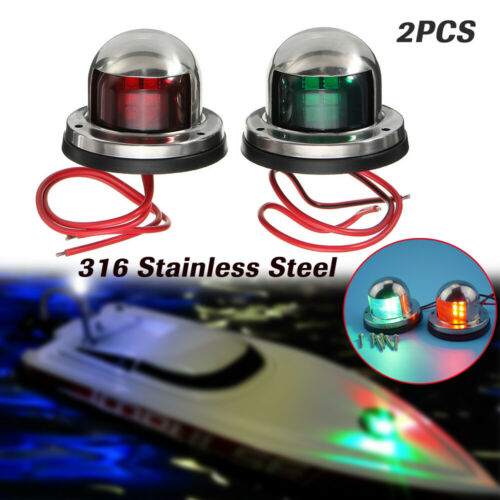 2PCS Stainless Steel 12V LED Navigation Signal Light Red Green Marine Boat Yacht