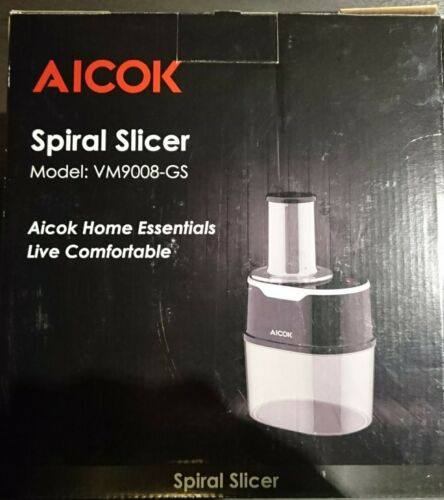 Aicok Electric Spiral Cutter Stainless Steel Blades 1,7l Bowl 120w NEW OVP