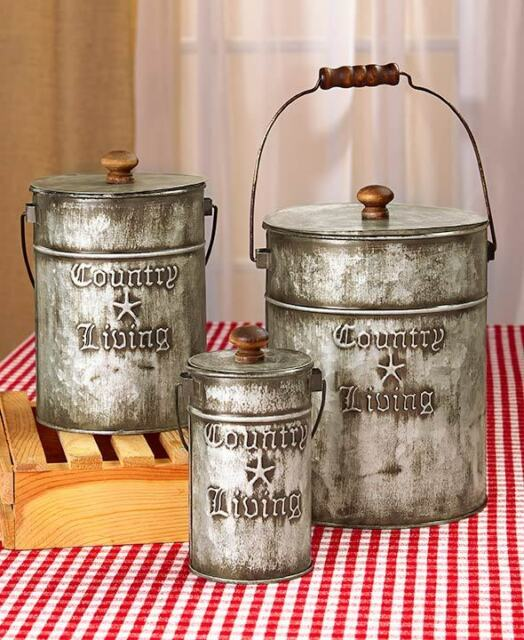 Country Living Set 3 Metal Canisters Rustic Primitive Kitchen Bathroom Storage