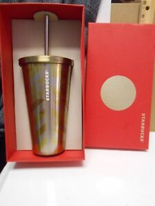Details About Starbucks Gold Finish Geometric Stainless Steel Cold Cup Tumbler Straw 16 Oz New